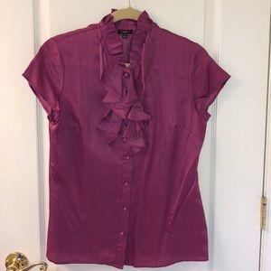 Talbots Silk Blend Ruffle Shirt